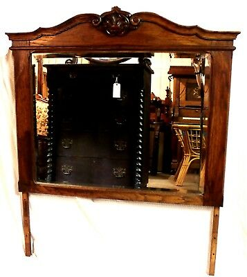 Antique Hand-Carved Oak Beveled Dresser Mirror, c. 1890-1905