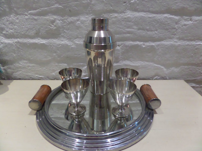 Gorgeous Art Deco Silver Plated Cocktail Set With Tray
