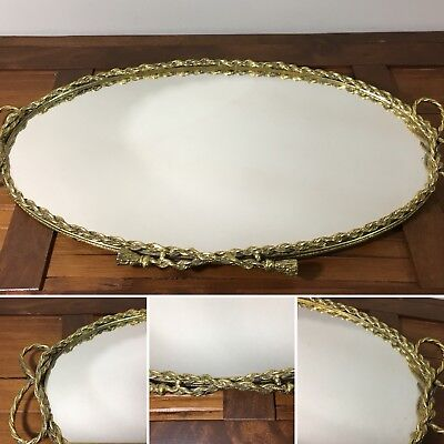 Vtg Oval Brass Mirrored Rope and Tassel Border Vanity Perfume Tray Bow Handles