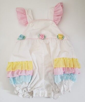 Vintage Baby Togs Girls Sz 24 Months Bubble Romper Flutter Sleeves Ruffles
