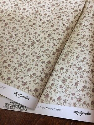 "1:12 Scale Dollhouse Wallpaper Wall Paper 2 sheets 18""x11.5"" Cream w/ Purple"