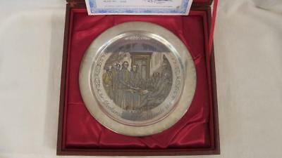 24K Gold Solid Sterling Silver Declaration Of Independence Plate Danbury Mint