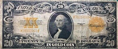1922 $20 DOLLAR GOLD CERTIFICATE BANK NOTE LARGE SIZE NOTE RARE and SCARCE