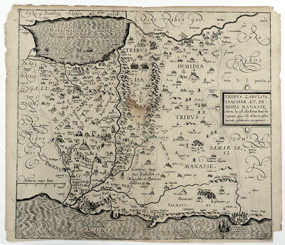 """1650 Engraved Map of the Holy  Land / Middle East, """"Tribus Zabulon, Isachar..."""""""