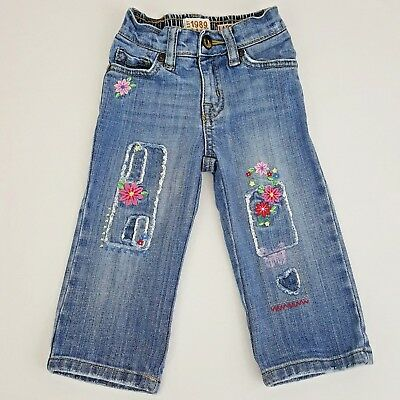 Children's Place Baby Girls 18 M Floral Embroidered & Patchwork Jeans