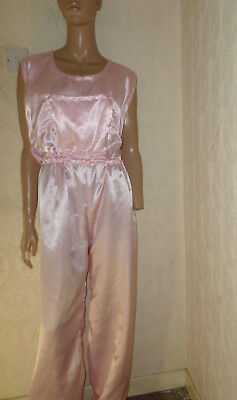 "ADULT BABY SISSY all-in-one BABY PINK SATIN DUNGAREES / SLEEPSUIT LARGE 48-52""C"
