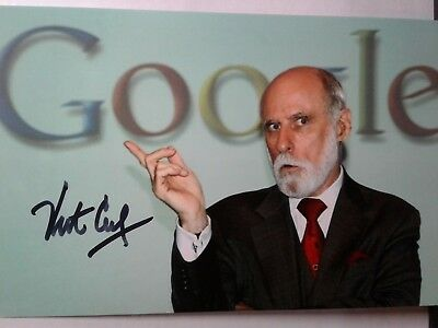 Vint Cerf Authentic Hand Signed 4X6 Photo - FATHER OF THE INTERNET