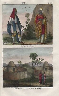 1840 - Congo Kongo Negro Africa people costume Lithograph natives