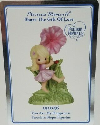 PRECIOUS MOMENTS 151056 You Are My Happiness porcelain bisque Flower Girl NEW