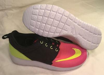37961e40e4de Nike Roshe One FB GS Youth Black Volt Crismon Pink 810513 002 big kids size  4.5