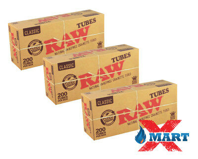 3x Box RAW Classic Cigarette Tube KING SIZE ( 600 Tubes Total ) Natural Unrefine