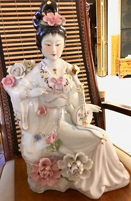 Geisha Girl Japanese Porcelain Seated Musician Playing Instrument