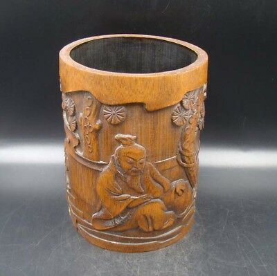 Collectible Handmade Carving Bamboo Brush Pot Statue people & Tree