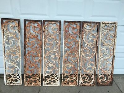 RARE 6 Beautiful ORNATE Antique Cast Iron Window Shutters Architectural Salvage