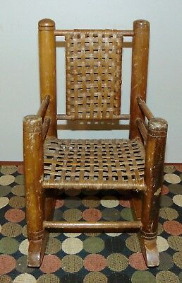 ANTIQUE MINIATURE Woven Seat ROCKING CHAIR Doll Size