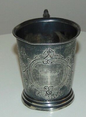 ANTIQUE VICTORIAN Child's Cup LADDIE Silver Plate