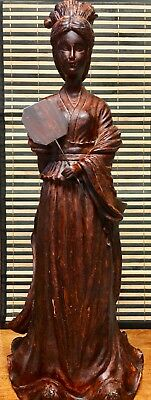 Asian Geisha Resin Wood Stained Statue