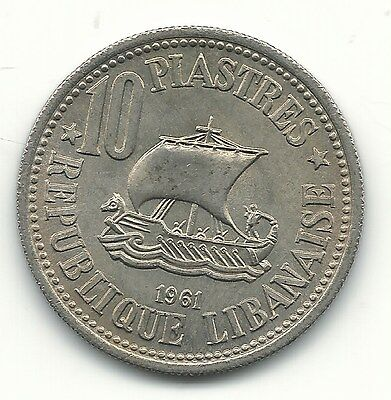 High Grade Au + 1961 Lebanon 10 Piastres Sailing Ship-Cedar Tree-Apr621