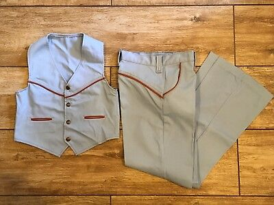 Vintage Boys Western Wear Child's Outfit Snap Vest Pants