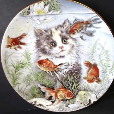 Cute Fishful Thinking Pam Cooper Kitten Encounters Cat Plate Royal Worcester '86