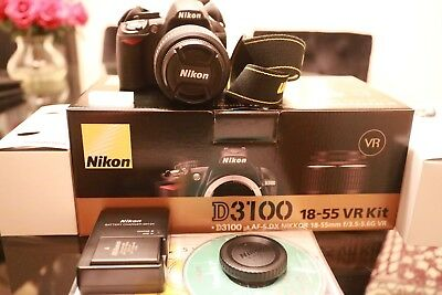 Nikon D3100 DSLR 14.2MP Digital SLR Camera  Black 18 - 55mm 3.5 - 5.6 Lens