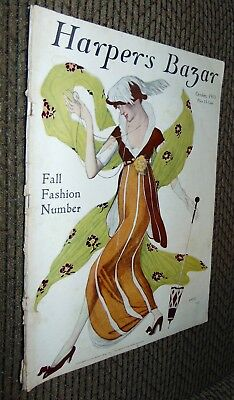 ANTIQUE Magazine OCT 1913 HARPER'S BAZAR Fall Fashion Number