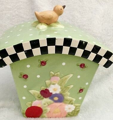 Mary Engelbreit Green Cherry And Polka Dot Canister -Cookie Jar