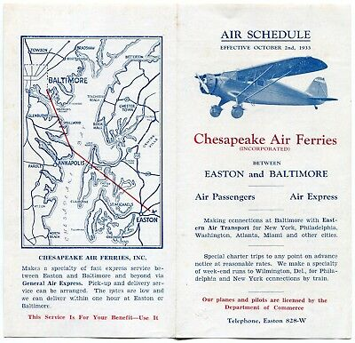 Timetable  Chesapeake Air Ferries 1933:zero Ops. Info.: Ops. Only 1934??