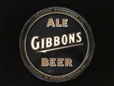 Old Gibbons Beer Tray Rare Black And Gold