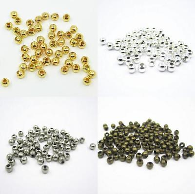 Wholesale Metal Round Spacer Beads Charm DIY Crafts Jewelry Making  3MM 4MM 5MM