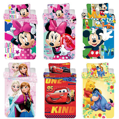 Disney Minnie Mickey Mouse Cars Winnie the Pooh Frozen Baby Bed Linen 100x135 Cm