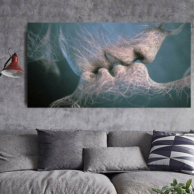 Retro Love Kiss Abstract Art Canvas Painting Wall Art Picture Print Home Decor