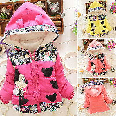 Baby Girls Kids Cartoon Minnie Mouse Hooded Jacket Coat Winter Thicken Outerwear