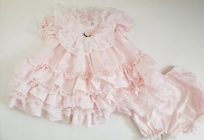 Vintage Jo Lene Baby Girls Pink Ruffle Dress and Bloomers Set Size 18 Months