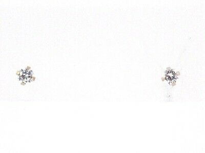 14k White Gold Round Diamond Solitaire Stud Earrings .20ct