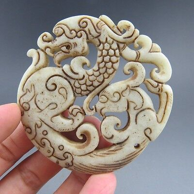 Chinese jade,collection, hand-carved, natural jade,dragon & phoenix,pendant D25