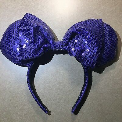 Mickey Minnie Ears Custom Your Choice Sequin Rose Gold Black Purple W/Dust Cover