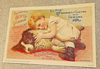 """Hoyt's German Cologne Girl and Dog - Victorian Ad Reproduction Print 8.5 x 5"""""""