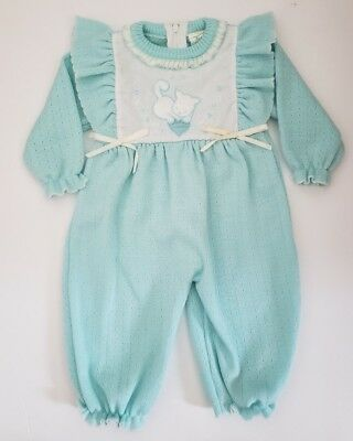 Vintage Rising Star Baby Girls Blue Sweater Romper Sz 0-6 Month w/ Cat Applique
