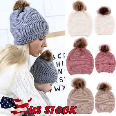 USA Mom&Newborn Baby Boy Girl Winter Warm Fur Pom Bobble Knit Beanie Hat Ski Cap