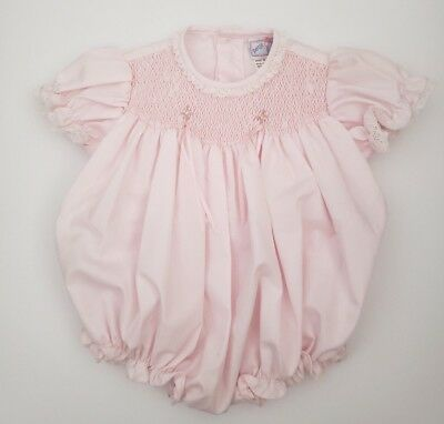 Vintage Petit Ami Baby Girl Pink Smocked Bubble Romper w/ Lace Trim Size Newborn