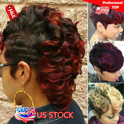 Women Ladies Ombre Black Wine Red Blonde Short Wavy Curly Afro Synthetic Wigs US