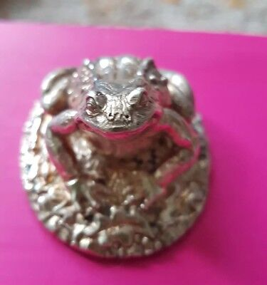 Stunning Hallmarked Sterling Silver frog/toad  Statue