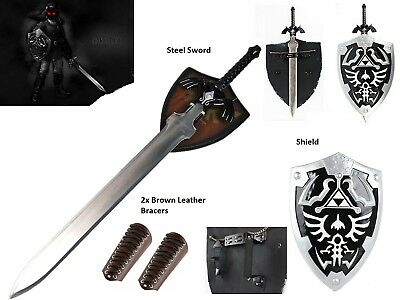 Unsharpened Dark Link Ocarina of Time Zelda Master Sword Shield Cosplay gift Set