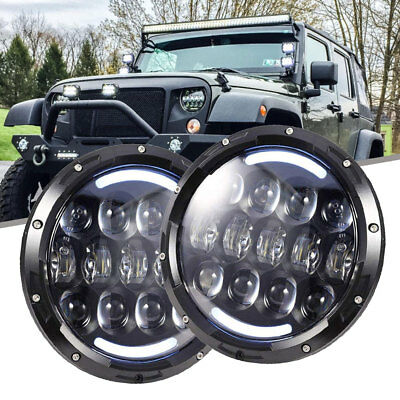 Fit 97-06 Jeep Wrangler TJ 7'' LED ROUND HALO HEADLIGHT FORD CAR & TRUCK 31285