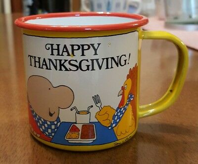 Vintage 70s Thanksgiving Ziggy Enamel Tin Small Cup / Candle Holder