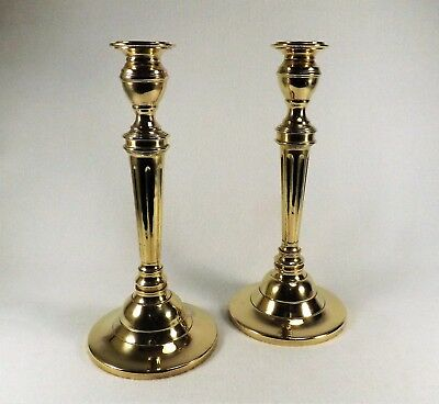 Vintage Pair of Fine Brass Candlesticks Turned Formal & Heavy Candle Holders