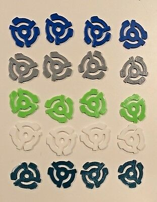 """Retro 5 PACK New 45 RPM 7"""" Easy Snap-In Record Inserts 45 Spindle Adapters"""
