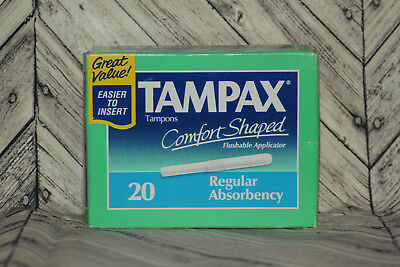Vintage Tampax Tampons 20 Regular Absorbency Sealed 1993 New Old Stock Prop