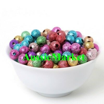 50 x stardust glitter beads acrylic plastic round multi colour loose spacer bead
